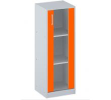 """Офисный стеллаж """"СБ-61+ДВ-62"""", цвет - серый + оранж, стиль - классический"""