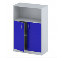 """Офисный стеллаж """"СБ-63"""", цвет - серый + синий, стиль - классический"""