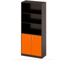 """Офисный стеллаж """"ШБ-3"""", цвет - венге + оранж, стиль - классический"""