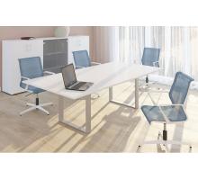 """Офисная переговорная комната """"VIRTUS"""", цвет - белый, стиль - современный"""