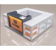 """Торговый островок """"Блюст-2"""", цвет - белый + титан + оранжевый, стиль - современный"""