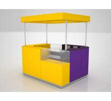 """Торговый островок """"Безумие"""", цвет - фиолетовый + желтый, стиль - современный"""
