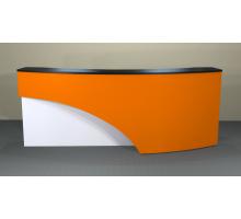 """Стойка ресепшн """"Вик"""", цвет - белый + черный + оранжевый, стиль - современный"""