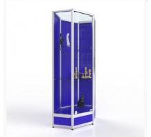 """Угловая витрина торговая """"Лео"""", цвет - белый + синий, стиль - современный"""