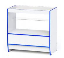 """Прилавок торговый """"Гамма-3"""", цвет - белый + синий, стиль - современный"""