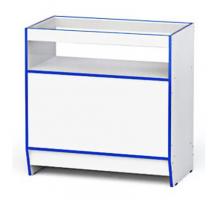 """Прилавок торговый """"Гамма-5"""", цвет - белый + синий, стиль - современный"""