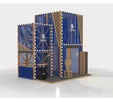 """Выставочный стенд """"КьюБик-2"""", цвет - молочный + синий, стиль - современный"""