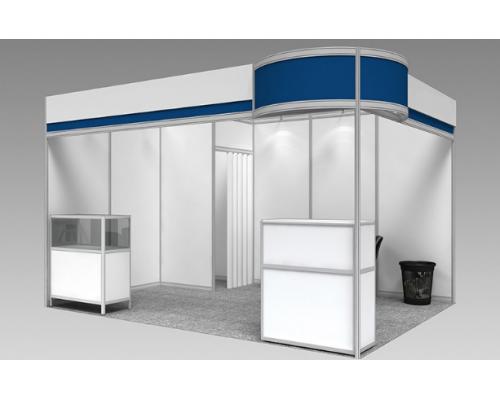 """Выставочный стенд """"Классик"""", цвет - белый + синий, стиль - современный"""