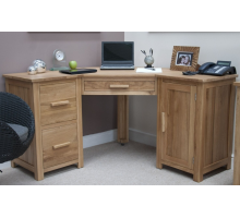 Массивный угловой компьютерный стол, цвет коричневый, стиль - современный