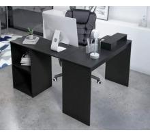 L-образный угловой компьютерный стол, цвет черный, стиль - ретро дизайн