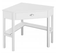 Угловой компьютерный стол, цвет белый, стиль - классический