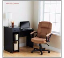 Маленький компьютерный стол с полками и ящиком, цвет чёрный, стиль - современный