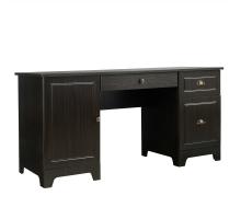 Прямой компьютерный стол, цвет темно-коричневый, стиль современный